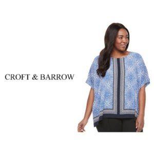 Croft Barrow Womens Blue Top Popover Plus Sz 2X